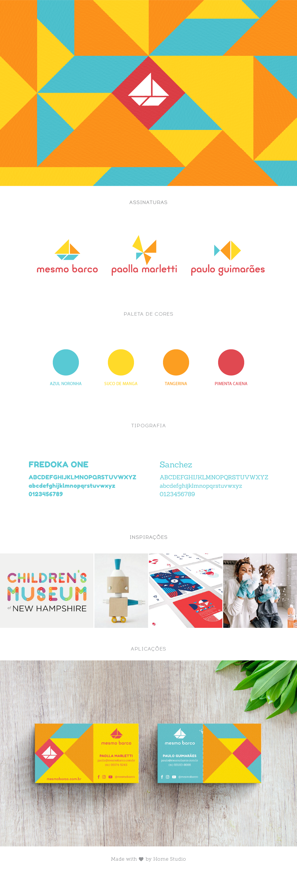Brandboard illustrating the fundamental elements of the brand to guide the client: basic signatures, main colors, typography, inspirations and one application in the form of a business card.