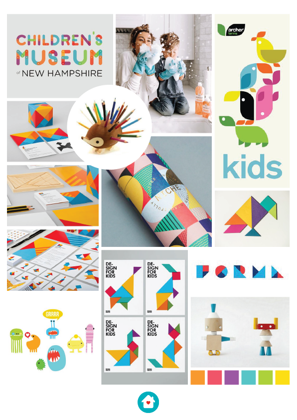 Moodboard illustrating colorful concepts: optimism, fun, ludic, and dynamism.